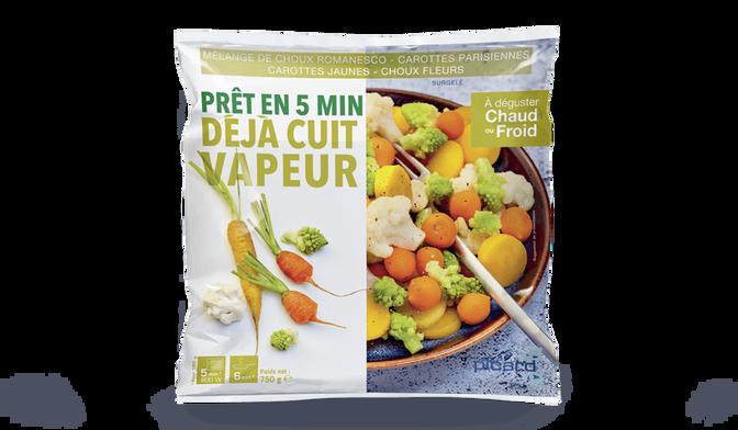 Mélange de choux romanesco, carottes parisiennes, carottes jaunes,
