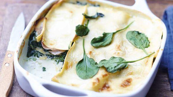 Lasagnes jambon fumé, épinards, gorgonzola