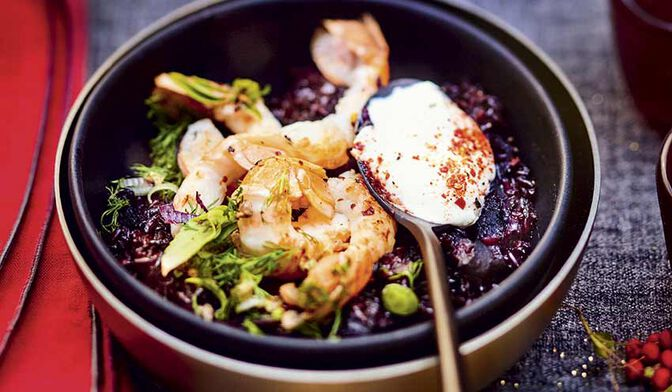 Riz noir, et piment d'Espelette langoustines poêlées
