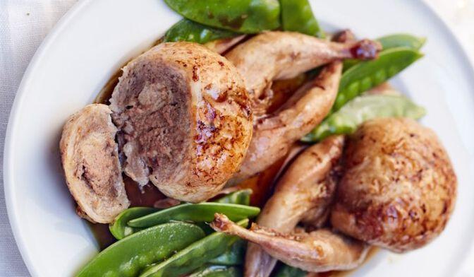2 cailles farcies au bloc de foie gras de canard