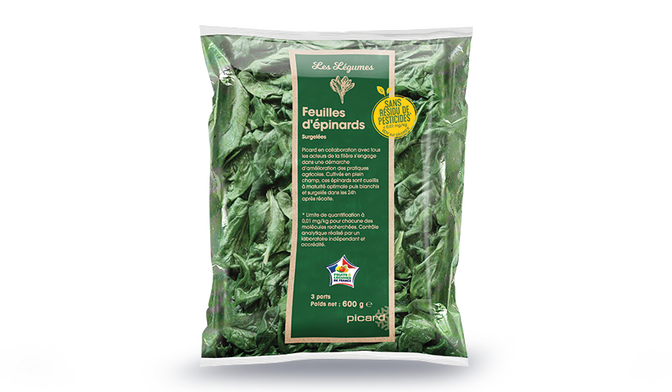 Feuilles d'épinards sans résidu de pesticides