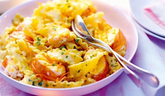Pâtes à la langouste, sauce crémeuse safran-orange