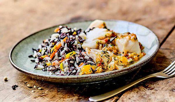 Cabillaud sauce vierge et duo de riz camarguais