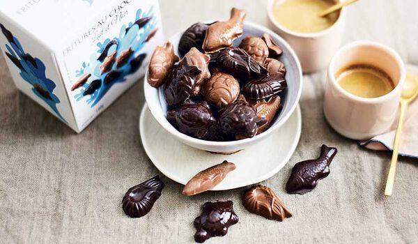 Fritures au chocolat, lait et noir