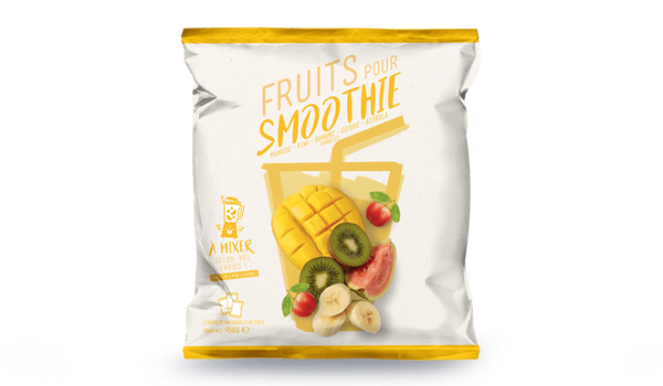 Fruits pour smoothie mangue, kiwi, banane, goyave