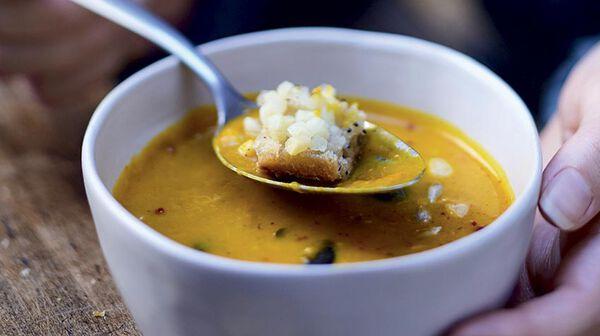 Soupe de potiron au pain céréales