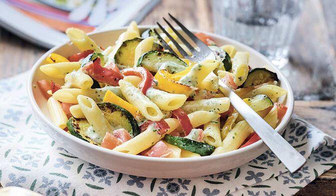 Penne et légumes du soleil, sauce ricotta basilic bio