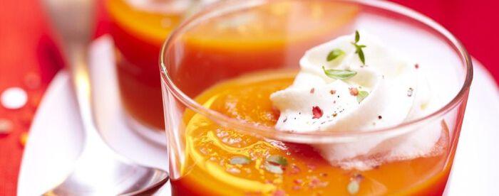 Velouté de carotte, chantilly au thym