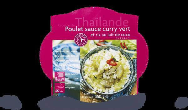 Poulet sauce curry vert et riz au lait de coco