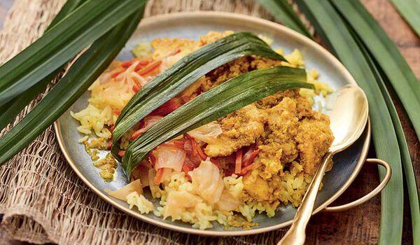 Poulet pandan et riz cuisiné