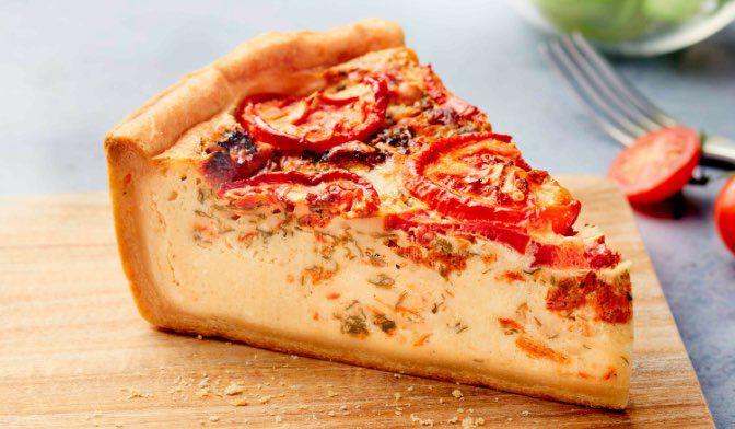 Part de tarte tomate ricotta basilic