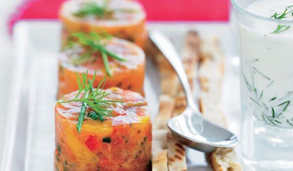 6 mini-tartares de saumon aux légumes du soleil