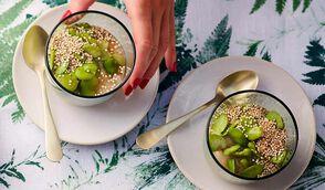 Quinoa, fèves, purée de céleri rave et huile de noisette