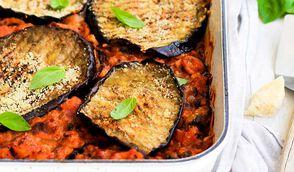 Lasagnes d'aubergines grillées aux fruits de mer