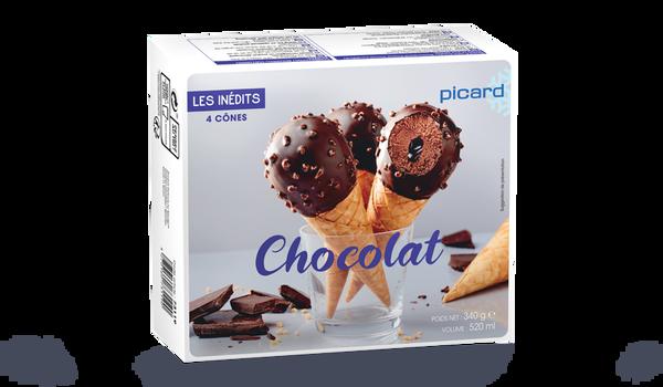 4 cônes chocolat
