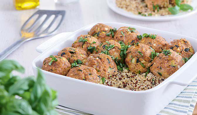Boulettes de veau aux courgettes grillées, tomates séchées et basilic, quinoa
