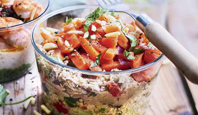 Agneau, boulghour aux légumes, carottes aux amandes