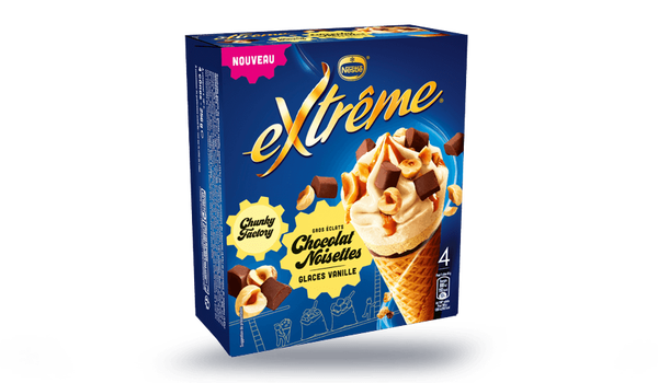 4 cônes chunky chocolat-noisettes