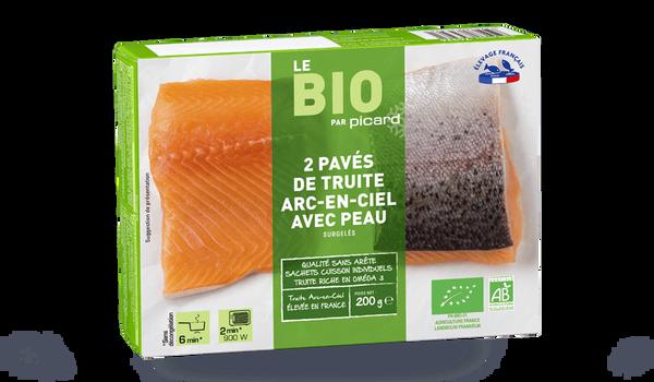 2 pavés de truite arc-en-ciel avec peau bio France