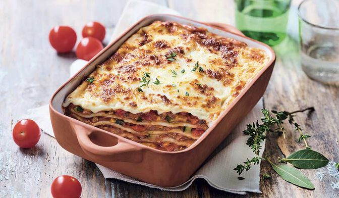 Lasagnes au boeuf et aux légumes du soleil bio
