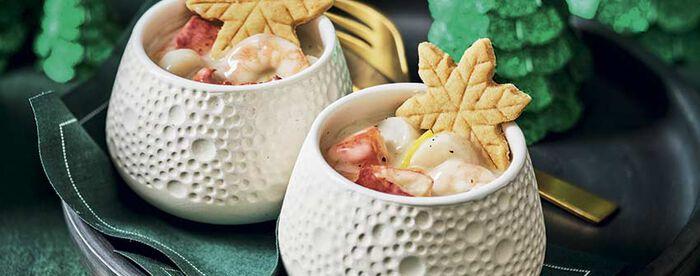 2 cassolettes homard, Saint-Jacques, crevettes