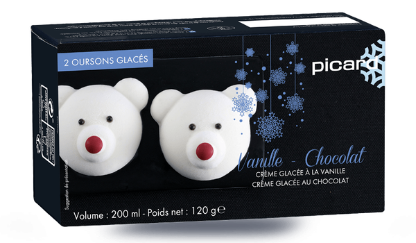 2 oursons glacés vanille-chocolat