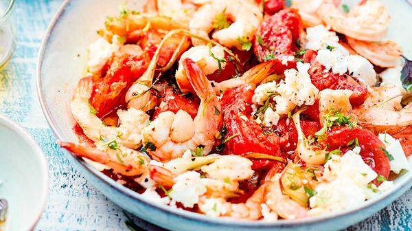 Crevettes saganaki