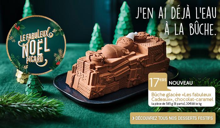 """Bûche glacée """"Les fabuleux cadeaux"""" chocolat-caramel"""