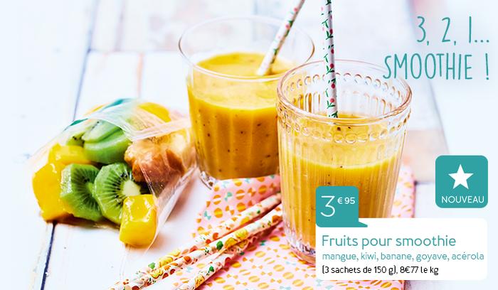 Fruits pour smoothie mangue, kiwi, banane, goyave, acérola