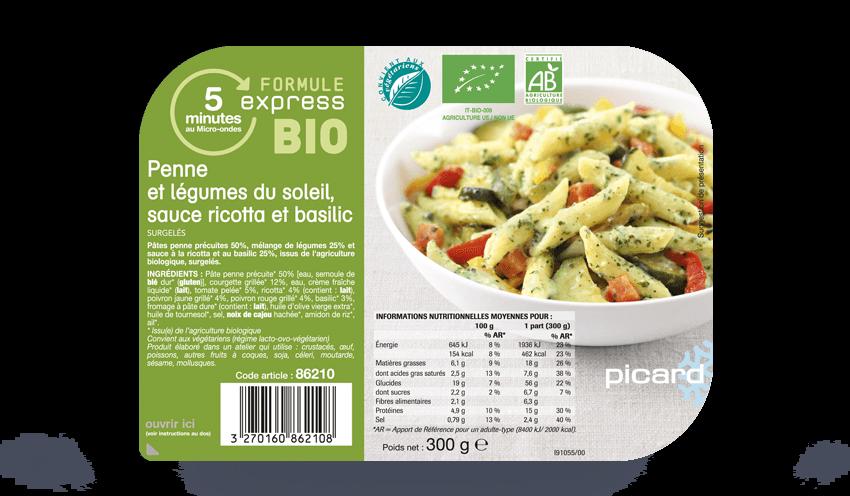 Penne Et Legumes Du Soleil Sauce Ricotta Basilic Bio Surgeles