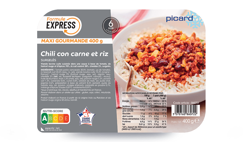 Chili Con Carne Et Riz Surgeles Les Plats Cuisines Picard