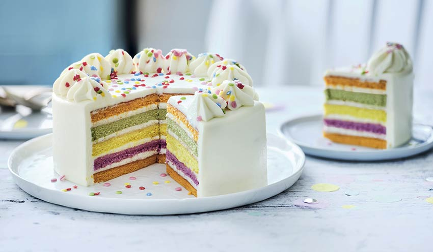 Rainbow cake, gâteau arc,en,ciel, 6 parts
