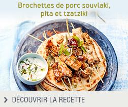 Recette brochettes de porc souvlaki, pita et tzatziki anonyme