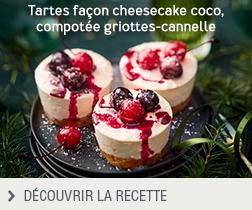 Recette tartes croustillantes façon cheesecake coco, compotée griottes-cannelle anonyme