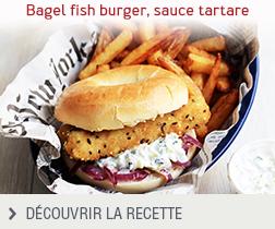 Bagel fish burger, sauce tartare anonyme