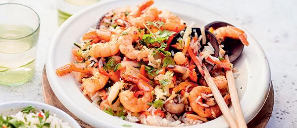 Recette riz saute aux légumes asiatiques et crevettes