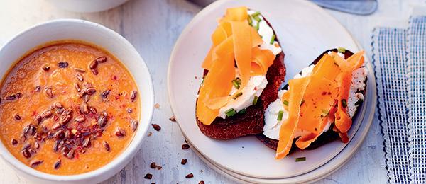 Recette velouté de carottes aux lentilles corail, tartines de fromage frais